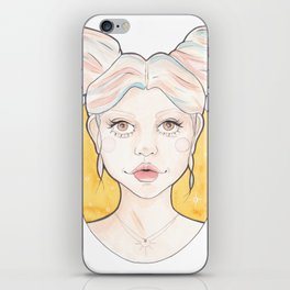 Clio, a Girl with Pink and Blue Streaked Blonde Hair Watercolor Illustration iPhone Skin
