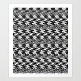 Geometric black, white pattern. Art Print