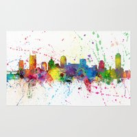 tennessee Area & Throw Rugs featuring Nashville Tennessee Skyline by artPause