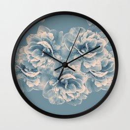 Blush Blue Peony Flower Bouquet #1 #floral #decor #art #society6 Wall Clock