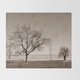 Lakeside Winter - Sepia Throw Blanket