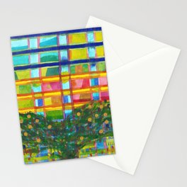 Tree In Front Of A Building Stationery Cards