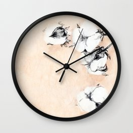 Cotton Flower on rice paper Wall Clock