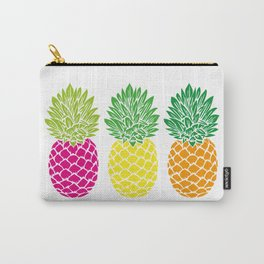 Pineapple Trio | Three Pineapples | Pineapple Silhouettes | Hot Pink | Yellow | Orange | Carry-All Pouch