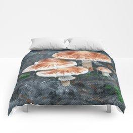 Family of mushrooms by Teresa Thompson Comforters