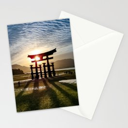 Itsukushima Shrine Sunset (blue, green, brown) Stationery Cards