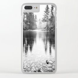 Forest Reflection Lake - Black and White  - Nature Photography Clear iPhone Case
