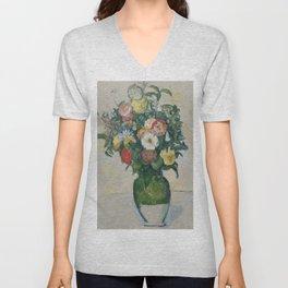 "Paul Cezanne ""Flowers in a green vase"" Unisex V-Neck"
