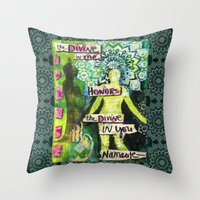 namaste Throw Pillows featuring Namaste by Jessica Beth Sporn