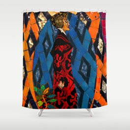 Lady Villain Mosaic Tile Abstract Shower Curtain