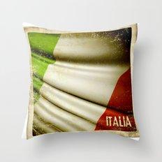 Grunge sticker of Italy flag Throw Pillow
