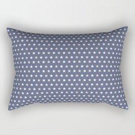 Peony Pink and White stars Summer Night Blue background Rectangular Pillow