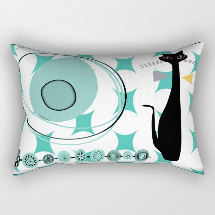 Mid-Century Modern Atomic Art - Teal - Cat Rectangular Pillow