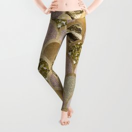 Rose gold glittering mermaid scales Leggings