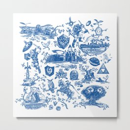 "Zelda ""Hero of Time"" Toile Pattern - Zora's Sapphire Metal Print"