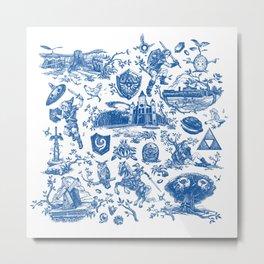 "Zelda ""Hero of Time"" Toile Pattern - Zora's Sapphire Metal Print"