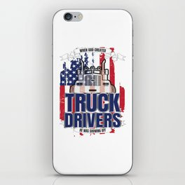 God Created Truck Drivers American Flag iPhone Skin