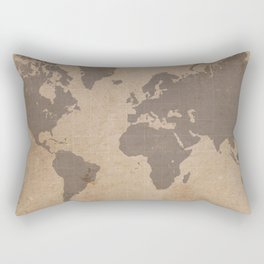 Antiqued World Map Rectangular Pillow