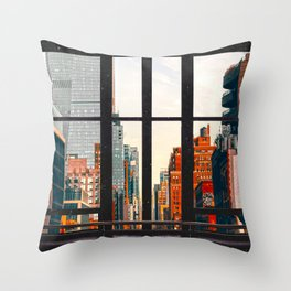 New York City Window #2-Surreal View Collage Throw Pillow