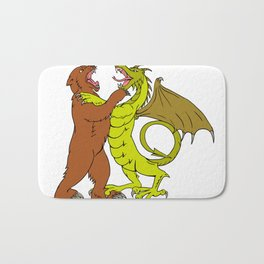 Chinese Dragon Fighting Grizzly Bear Drawing Color Bath Mat