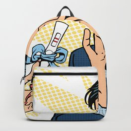 pregnancy test two strips man happy Backpack