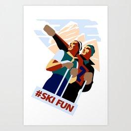 Hashtag ski fun Art Print