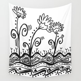 Three Spring Flowers Wall Tapestry