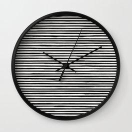 Skinny Stroke Horizontal Black on Off White Wall Clock