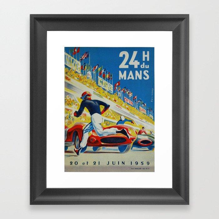 24hs Le Mans, 1959, vintage poster Gerahmter Kunstdruck