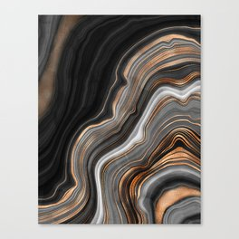 Elegant black marble with gold and copper veins Canvas Print