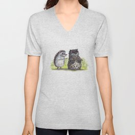 Hedgehog's here Unisex V-Neck