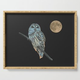 Owl, See the Moon (sq Barred Owl) Serving Tray