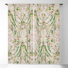 Green Pink Leaf Flower Paisley Blackout Curtain