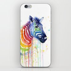 Zebra Rainbow Watercolor Animal iPhone & iPod Skin