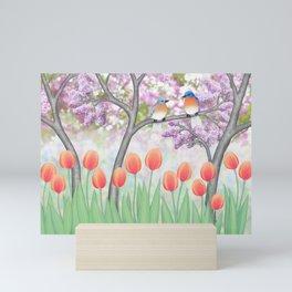 eastern bluebirds, tulips, & lilacs Mini Art Print