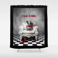 french bulldog Shower Curtains featuring French Bulldog by BabsArtCreations