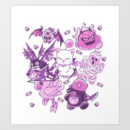Final Fantasy Moogle Chocobo Tonberry Cactuar Bomb BatEye Gimme Cat Trick or treat Art Print