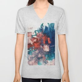 Bali: a vibrant, colorful abstract in blue, green, and pink/red Unisex V-Neck