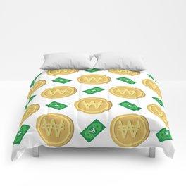 Korean won pattern background Comforters