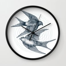 Two Swallows Wall Clock