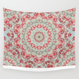 Flight of the Red Maple Tree -- Dreamy Mandala, Medallion, Kaleidoscope in Vintage Tones Wall Tapestry