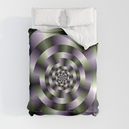 Concentric Circles in Green and Purple Comforters