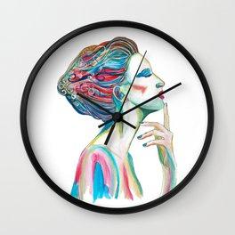 Colorful ink drawing of a women, ink art, girl illustration, modern women art Wall Clock