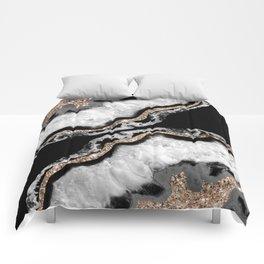 Yin Yang Agate Glitter Glam #8 #gem #decor #art #society6 Comforters