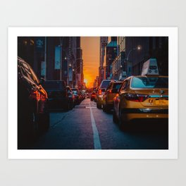 New York City Taxi Sunset (Color) Art Print