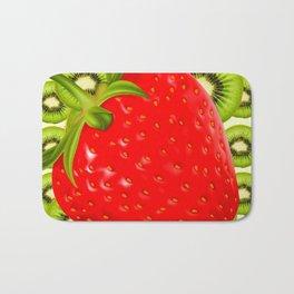 GREEN KIWI & RED STRAWBERRY ART Bath Mat