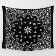 black and white bandana Wall Tapestry