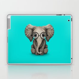 Cute Baby Elephant Calf with Reading Glasses on Blue Laptop & iPad Skin