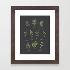 HERBS on black Framed Art Print
