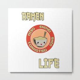 Ramen Life Noodles Vintage Retro Style Metal Print